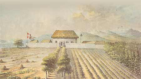 Watercolour illustration of the Danish Guinean plantation, Frederiksted, from 1790